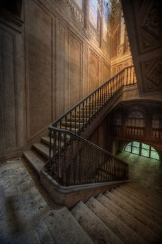 Amazing staircase of an abandoned manor house in Europe.  Can't imagine what the rest of the home must have looked like if the stairs are this amazing!
