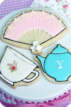 Tea party decorated cookies!  @Mary Powers Miles, check out her website for cookie ideas.  Amazing!
