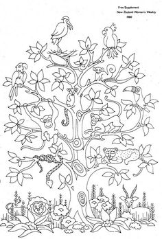 animal tree embroidery pattern