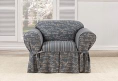 Vintage Script: This Charming one piece slipcover design has Script mixed with stripes.
