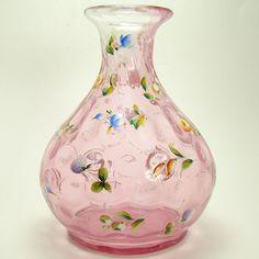 1880s Cranberry Enameled Inverted Thumbprint Vase