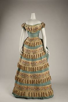 Dress (Ball Gown).  House of Worth (French, 1858–1956).  Designer: Charles Frederick Worth (French (born England), Bourne 1825–1895 Paris). Date: ca. 1872. Culture: French. Medium: silk. Dimensions: Length at CB (a,b,c): 55 in. (139.7 cm). Length (c): 23 in. (58.4 cm).