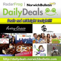 Last chance to get these #deals! Offers end midnight tonight! Click here: http://dailydeals.norwichbulletin.com #CT #restaurants #photography #entertainment