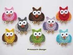 So sweet!!! Owls, Crocheted - found on Dawanda