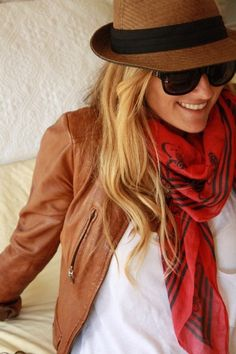 fall style: leather coat, scarf, love!