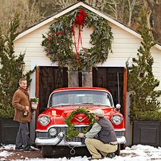 christmas wreaths, winter, vintage cars, garages, outdoor buildings, garden, outdoor christmas, the holiday, retro christmas