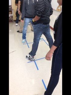 This is a game I play with my students to practice corresponding angles, alt. interior, alt. exterior, supplementary, same side interior.  They must place feet in the type of angles I call out. (Got from YouTube video)