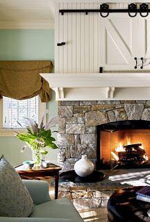 hide tv, the doors, living rooms, sliding barn doors, barns, living room fireplace, mantl, stone fireplaces, sliding doors