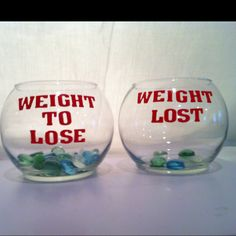 """Keep Track of your weight lost! I went to the dollar store. Bought 2 glass bowls, one bag of glass rocks and one pack of monogram sticker letters and spent $4.33! I will keep this on my counter in the kitchen as my daily reminder. Weigh your self and see how many pounds you'd like to lose and put that many rocks in the """"Weight to Lose""""  bowl... When the weight starts coming off transfer your rocks into the """"Weight Lost"""" bowl. (the lost bowl with the rocks in it is just an example for picture ..."""