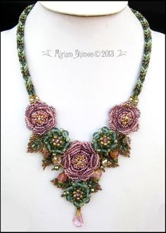 Beaded Rose necklace in Pink, Purple and Green