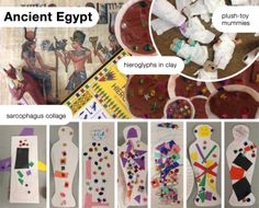 Little Artists visit Ancient Egypt: sarcophagus (collage), hieroglyph stamps in clay, plush toy mummies - lesson and activities for preschoolers