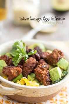 Italian Sausage Spinach Breakfast Bowl | by Sonia! The Healthy Foodie