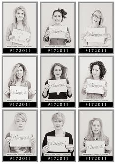Take morning-after mugshots. Fun bachelorette party pics for your and your girls. bridal party photos, wedding parties, bridal party pictures, bachelorette parties, bridesmaid, the bride, bridal parties, mug shots, the bachelorette