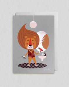 Mr Lion Card Ingela P Arrhenius - flat colour with a retro feel-makes me laugh