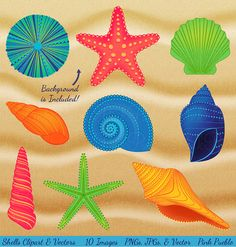 Sea Shell Clip Art Free | Shells Clipart Clip Art, Beach Ocean Travel Vacation Clip Art Clipart ...