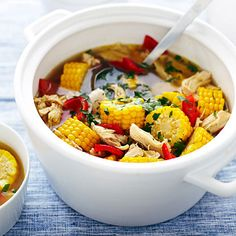 Peruvian-Style Corn, Pepper, and Chicken Soup (while it looks beautiful with the bright sections of corn on the cob, I think I might cut if off of the cob for easier eating . . . )