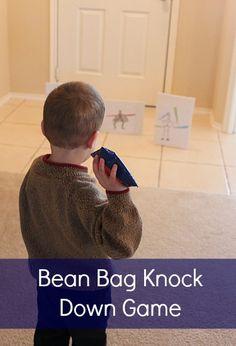 Bean Bag Knock Down Game indoor activities, pinto beans, bag knock, game, rainy day activities, motor skills, bean bags, gross motor activities, kid