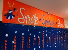 Cheerleaders banner welcoming them back to the 1st day of school. * Smile * Sparkle * Shine * Brighton High! #cheerleaders #spirit #cheerleading