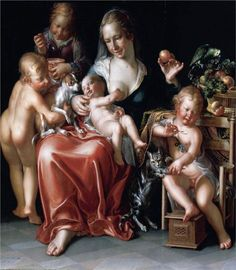 Charity | oil-on-wood panel,  1627 | Joachim Wtewael