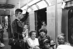 Visiting Nurse Pera uses subway to travel between home visits, Community Nursing Services of Philadelphia, c. 1964. Image courtesy of the Barbara Bates Center for the Study of the History of Nursing.