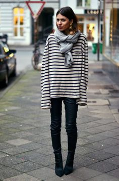 fashion, outfit, street styles, tie a scarf, parisian chic, stripes, leather, scarv, black pants