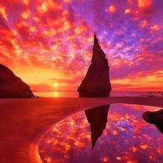 Sunset in Bandon, Oregon.
