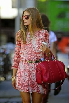 Floral skirt with red hand bag