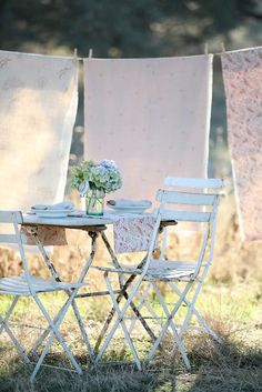 clotheslines, chair, french bistro, outdoor flowers, linens, tea, clothes lines, romantic rooms, shabby chic garden