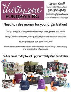 Thirty-One Fundraising - great flyer idea to promote the opportunity to groups