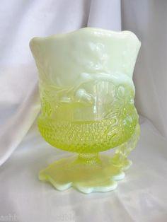 *MOSSER GLASS ~ Vaseline Opalescent Acorn Spooner