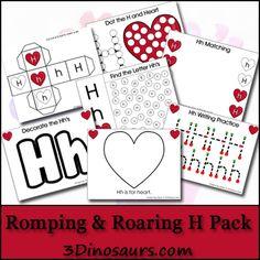 Free Romping & Roaring H Pack - 3Dinosaurs.com abc, letter k printable pack, letter h printable pack, 3dinosaurscom, homeschool, alphabet activities, preschool alphabet, dots, romping roaring