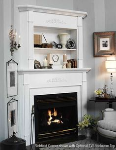 Great idea to place a shelf above the fireplace #mantel for extra storage and display space.