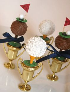 Adorable golf-themed cake pops perched on golf tees!