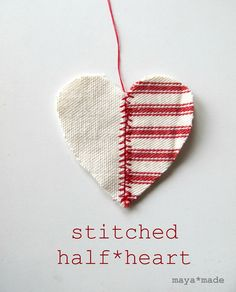 DIY: stiched half heart