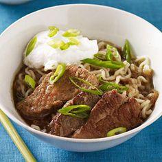 Slow-Cooker Asian Barbecued Pork #slowcooker #pork #noodles