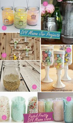 Mason jar projects for wedding decorations using twine, gold glitter, fabric, and other materials.  #masonjars #masonjarweddings #diymasonjars