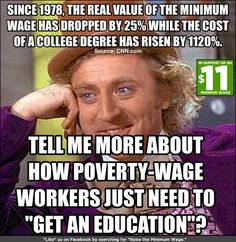 Minimum wage value degrees while college tuition skyrockets