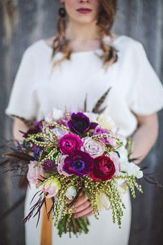 purple + pink wedding bouquet // photo by the Willinghams // flowers by Bare Root Flora