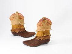 Italian Cowgirl Fiorucci 80s Fringe Suede Boots by missfarfalla, $95.00