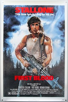 First Blood.  One Sheet movie poster.  Sylvester Stallone. Rambo