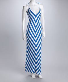 Royal and white cutout maxi dress - looks like the lines would be flattering
