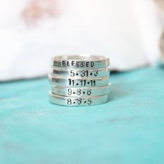 Custom Ring, Personalized, Mothers Jewelry, Anniversary Date, Name Ring. Sterling Silver. $32.00, via Etsy.