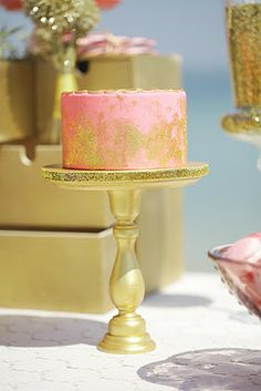 Pink cake with gold dust