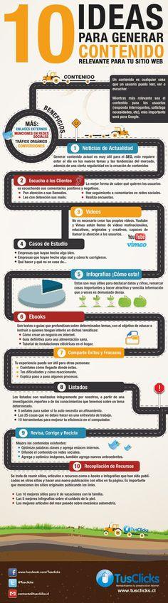 10 ideas para generar contenido relevante para tu sitio Web. #Infografía en español #CommunityManager #RedesSociales #MarketingOnline #InternetMarketing #Infografia #CapacitaciónOnline