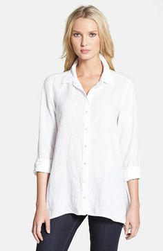 Eileen Fisher Organic Linen Classic Collar Boxy Shirt (Regular & Petite) available at #Nordstrom