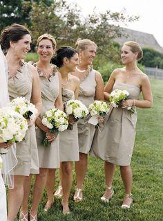 neutral bridesmaids dresses.