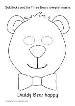 Goldilocks and the Three Bears role-play masks - black and white