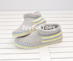 Crochet Shoes Grey Slippers for the street  Outdoor by JoyForToes, €48.00