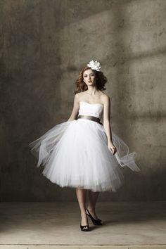 Casual Tea Length White Cotton Sweetheart Tulle Dress A by ouma