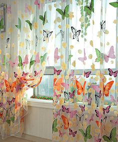 Colorful Butterfly Sheer Curtain. Voile Sheer by 20CentsSupplies, $7.99